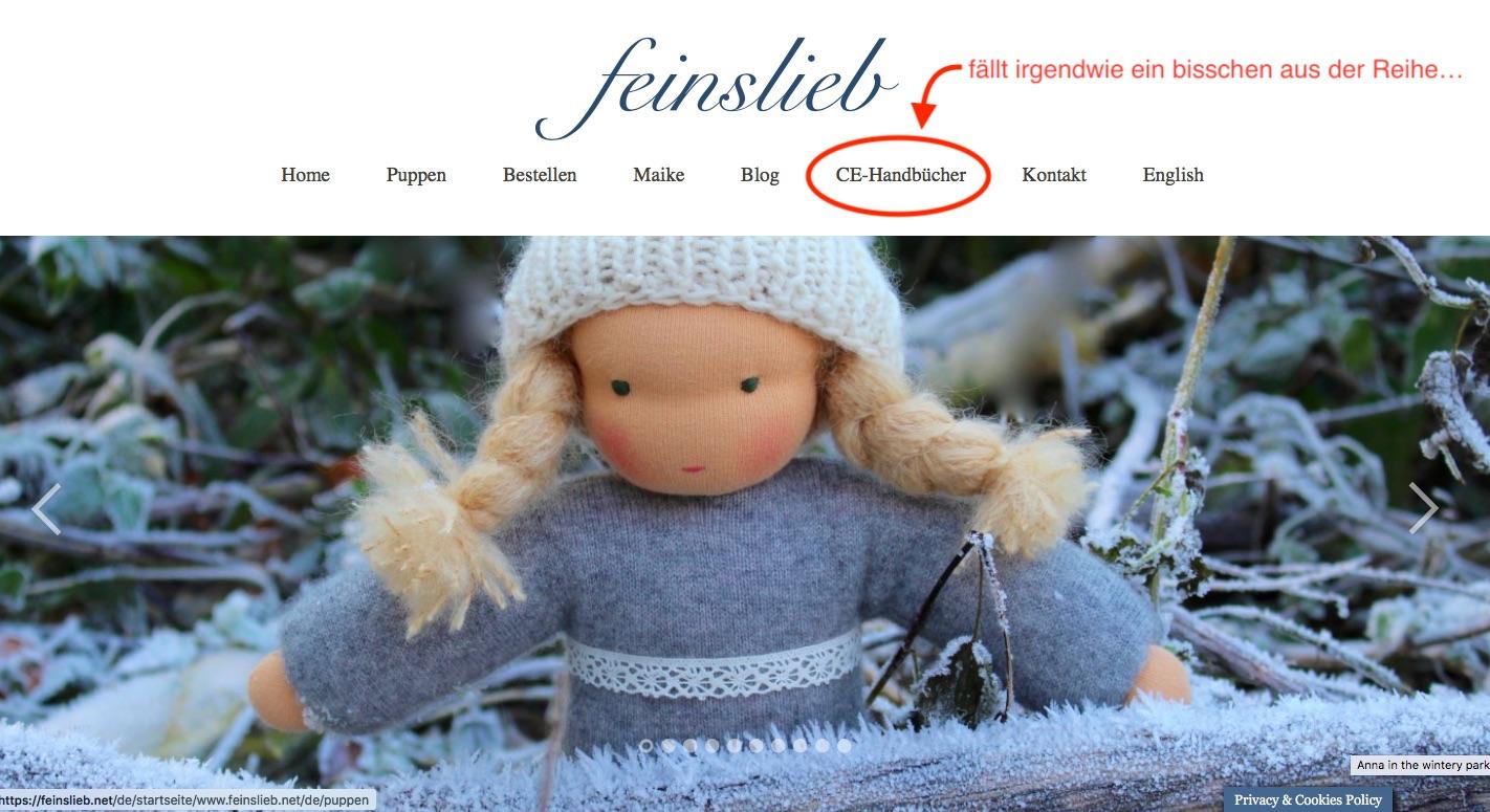 feinslieb Website Screenshot - Der CE-Handbücher Button ist irgendwie fehl am Platz. Die Handbücher passen viel besser auf eine Website zum Thema CE-Kennzeichnung!