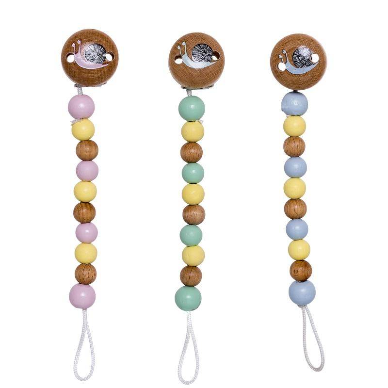 3 Schnullerketten mit bunten Perlen der gleichen Größe und Befestigungsclip mit Schildkröten-Motiv