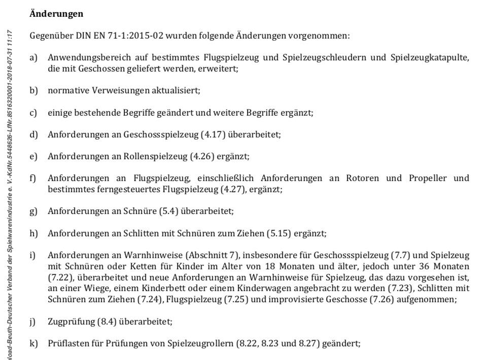 neue DIN-Normen für Spielzeuge: In jeder Norm gibt es vorne einen Text, der die Änderungen auflistet. das Foto zeigt einen Teil des Änderungstextes in der DIN EN 71-1:2018-08